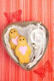 Garçon et fille de pain d'épice sur le plateau en forme de coeur de bidon Photographie stock