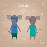 Garçon et fille de souris Illustration de vecteur Photos stock