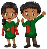 Garçon et fille du Bangladesh dans l'équipement de tradition illustration libre de droits