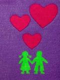 Garçon et fille en silhouette d'amour Photographie stock libre de droits