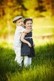 Garçon et fille heureux Photographie stock libre de droits