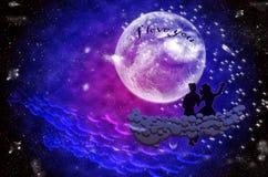 Garçon et fille s'asseyant dans le clair de lune sur le nuage Image libre de droits