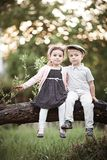 Garçon et fille s'asseyant sur l'arbre Photo stock