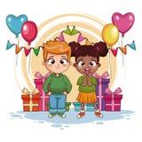 Garçon et fille sur la fête d'anniversaire illustration stock