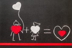 Garçon et fille sur le tableau Amour doux Amour créateur Photographie stock