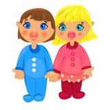 Garçon et girl.twins d'isolement sur le fond blanc Image libre de droits