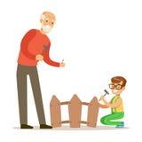 Garçon et grand-père martelant des clous dans la barrière, une partie de grands-parents ayant l'amusement avec la série de petits illustration libre de droits