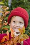 Garçon et lames d'automne de sourire Photo libre de droits