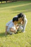 Garçon et mère jouant sur la pelouse image stock