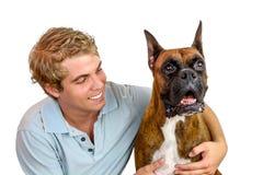 Garçon et son chien Photographie stock