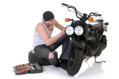 Garçon et son scooter Photos stock
