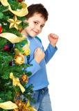 Garçon et un arbre de Noël Photographie stock