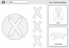 Garçon et xylophone de rayon X de bande dessinée Fiche de travail de découverte d'alphabet : wri Photographie stock