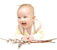 Garçon européen nouveau-né de bébé avec le saule de chat 3 mois Images stock