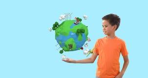 Garçon feignant pour tenir un globe 4k banque de vidéos