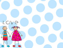 Garçon + fille = amour (bleu) Photographie stock libre de droits