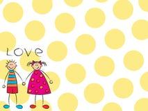 Garçon + fille = amour (jaune) Image libre de droits