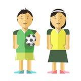 Garçon, fille et ballon de football Photos stock