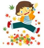 Garçon gai avec des feuilles d'automne illustration de vecteur