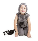 Garçon habillé comme araignée photographie stock