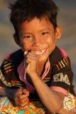 Garçon heureux avec l'espace de dent, Myanmar Image libre de droits