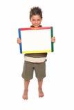 Garçon heureux avec le panneau sec d'effacement Images libres de droits