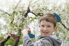 Garçon heureux dans le jardin Images libres de droits