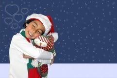Garçon heureux dans le Joyeux Noël Image stock