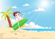 Garçon heureux de surfers courant avec une planche de surf sur la plage illustration de vecteur