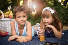 Garçon heureux et fille de sourire se trouvant ensemble sur une couverture et un havin Photos stock