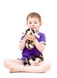 Garçon heureux jouant avec des chatons Photo libre de droits