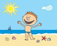 Garçon heureux sur la plage Photos stock