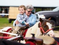 Garçon heureux sur Pony Ride Image stock