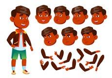Garçon indien, enfant, enfant, vecteur de l'adolescence Élève gai Émotions de visage, divers gestes Ensemble de création d'animat illustration libre de droits