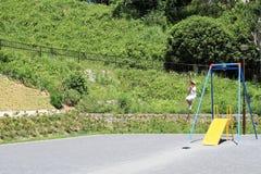 Garçon japonais jouant avec le renard de vol Image libre de droits
