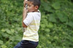 Garçon japonais jouant avec le renard de vol Images stock