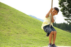Garçon japonais jouant avec le renard de vol Images libres de droits