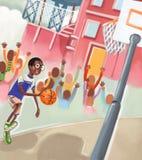 Garçon jouant au basket-ball Image libre de droits