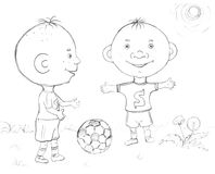 Garçon jouant au football, croquis Photo libre de droits