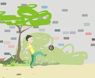 Garçon jouant avec la bille Images libres de droits