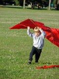 Garçon jouant avec le cerf-volant Photos libres de droits
