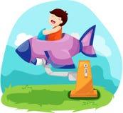 Garçon jouant l'avion d'amusement Image libre de droits
