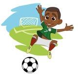 Garçon joyeux jouant au football illustration stock