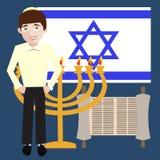 Garçon juif d'adolescent avec des symboles de l'Israël, drapeau, menorah, Sc de torah illustration de vecteur