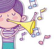 Garçon mignon avec la trompette de jeu de coiffure illustration de vecteur