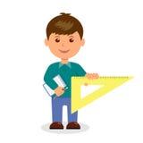 Garçon mignon avec un carnet tenant la règle illustration stock