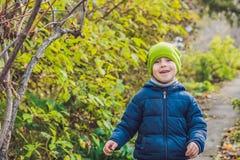 Garçon mignon de petit enfant appréciant le jour d'automne Enfant préscolaire dans le colo Image libre de droits