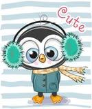Garçon mignon de pingouin de bande dessinée dans des écouteurs d'une fourrure illustration stock
