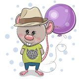 Garçon mignon de rat de bande dessinée avec le ballon illustration de vecteur