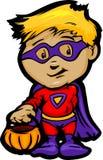 Garçon mignon de Veille de la toussaint dans le dessin animé de costume de héros superbe Images stock